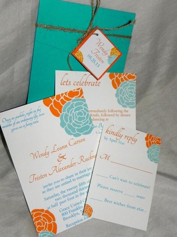 orange and turquoise wedding invitations. orange and turquoise wedding invitations