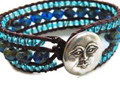 Moon Leather Cuff Wrap Bracelet w/ Premium Czech Beads and Blue Moon, Summer, Boho Beachy Chic