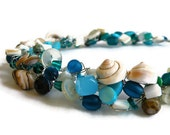 Beach Shell Crochet Wire Necklace with Abalone, Aqua & Spiral Shell Beads