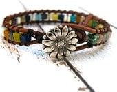 Boho Leather Wrap Multi Color Stone Bracelet/ Bold Color Squares/ Free Shipping/ Earthy Rainbow Boho Chic