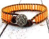 Pumpkin Orange Yellow Wrap Bracelet with Bronze Fern Button on Red Brown Leather/ Bright Accessory/ Boho Colorful Chic/ Ready to Ship/ OOAK
