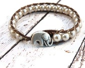Boho Little Elephant Beige Pearls on Brown Leather Wrap Bracelet/ Lucky Girl/ Urban Modern Boho Chic