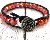 Valentines Red Rose on Black Leather Wrap Bracelet with Red Glass Facets and Artisan Rose Button/ Boho Glam Luxe Chic/ Ready to Ship