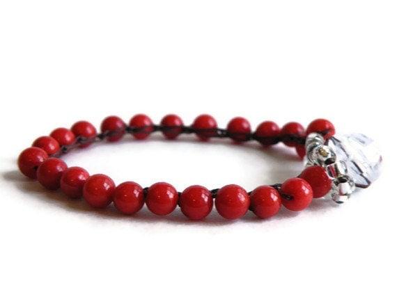 Boho Crochet Stack Bracelet with Tomato Red Beads