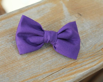 Grape Purple Bow Tie - clip on, pre-tied with strap or self tying -for boys and men -  wedding ring bearer