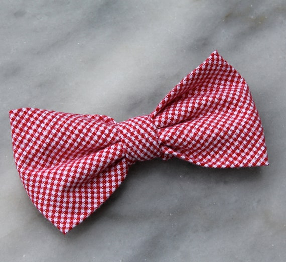 Red Small Gingham Bow Tie for boys - clip on, pre-tied with strap or self tying