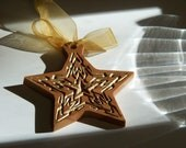 Wooden Ornament Gold Star Personalized