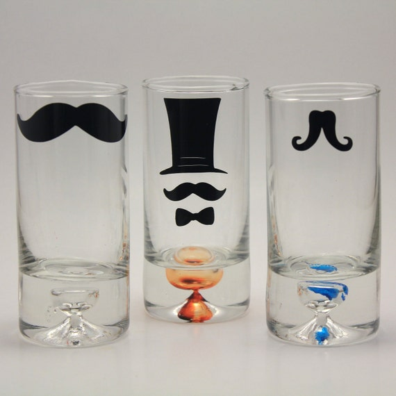 3 Mustache Shot Glasses, customized