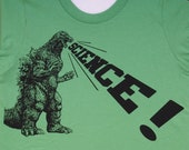 kids godzilla dinosaur science shirt- american apparel grass green, available in 2, 4, 6, 8, 10, 12 year old sizes Worldwide Shipping