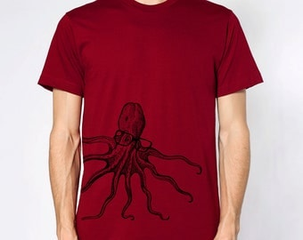 mens octopus wearing glasses- American Apparel Cranberry t shirt- available in S,M, L, XL,XXL- worldwide shipping