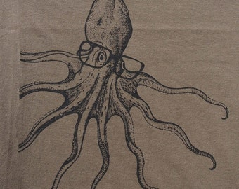 mens octopus wearing glasses t shirt- American Apparel army green- available in S, M, L, XL, XXL- worlswide shipping