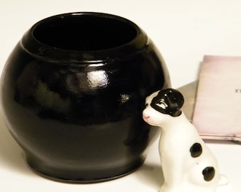 Black Round Vase Wheelthrown Glossy Pottery