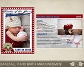 Baseball Card Birth Announcement