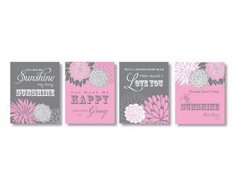 Pink and Grey Nursery Decor You Are My Sunshine Flower Nursery Kids Art Print Wall