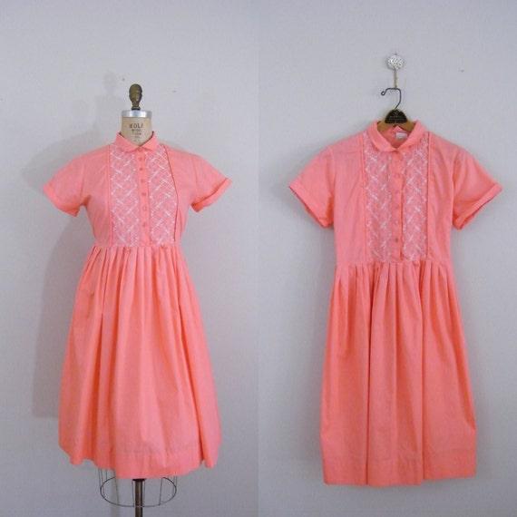 Vintage 1950s Pink Dress / Day Dress