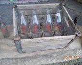 Vintage Wood Milk Crate - 1950s Wood Slats & 12 Metal Dividers for Milk Bottles-Metal Vintage