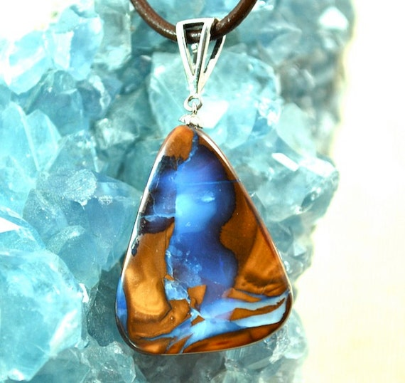 Boulder Opal in Light and Darker Tanzanite Hues
