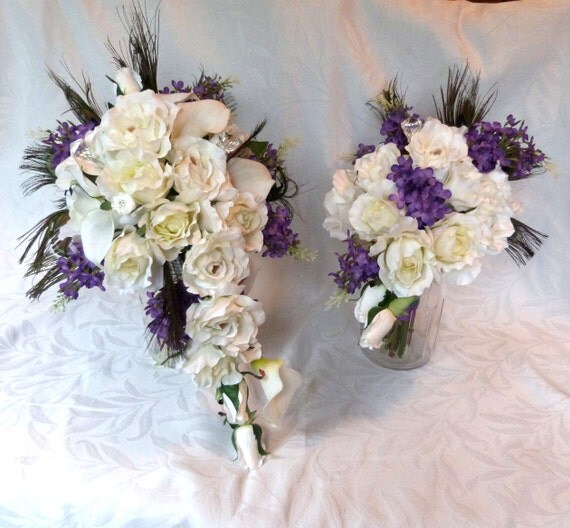 White Wedding Bouquets With Peacock Feathers : White rose mini calla lily lilac wedding by