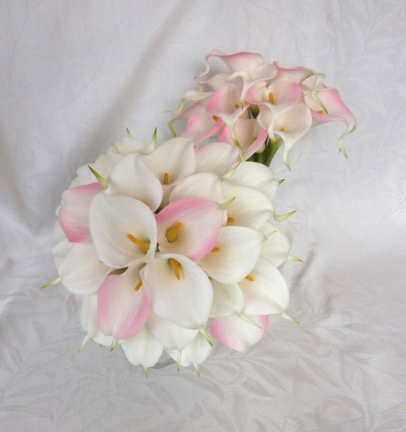 Pink and white mini real touch calla lily by ...