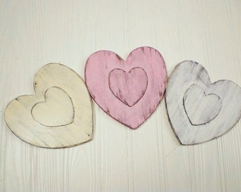 Personalized Heart Ornament-Shabby Chic-Rustic Wedding Decor-Valentines day heart-BABY PINK