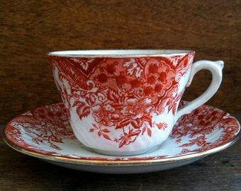 Vintage English red and white tea cup coffee saucer circa 1950's / English Shop