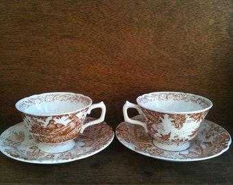 Vintage English Pheasant Game Bird Tea Cups Saucers Pair circa 1950's / English Shop