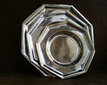 Vintage English octagon metal plate set of 3 circa 1960's / English Shop