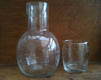 Vintage English etched water wine glass decanter circa 1950's / English Shop