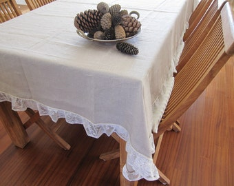 Shabby chic Ruffle linen tablecloth 84 120 rectangle -Lace fashion-oatmeal beige Holidays entertaining FRENCH country home