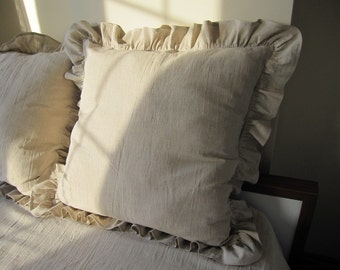 26x26 20x36 inch Oatmeal beige Ivory ruffle king size pillow sham -shabby chic beach cottage country style euro pillow sham - Odemis linen