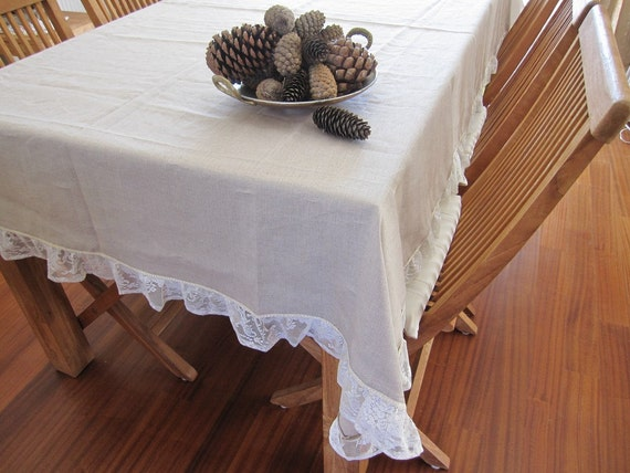 Shabby chic ruffle linen tablecloth 84 120 rectangle lace for Tovaglie shabby