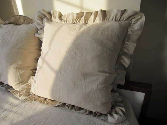 Shabby Chic Beach Pillows : 26 inch Oatmeal beige ruffle euro sham -shabby chic beach cottage country style pillow sham ...