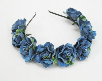 Blue Velvet Rose Crown, Blue Flower Crown, Blue Rose Headband, Blue Rose Crown, Floral Crown, Blue, Rose Headband, Gift Idea, Boho