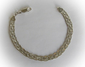 Italian Sterling Silver Mesh Bracelet with Lobster Clasp