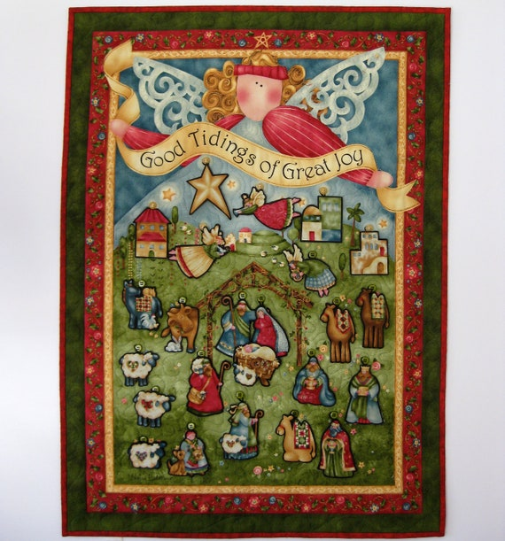 Nativity Advent Calendar Quilted  Angel Wall Hanging Religious CIJ