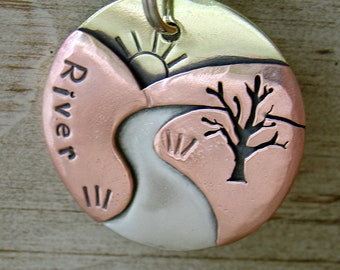 Large Dog ID tag- personalized pet tag- the River