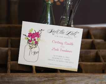 Save the Date Cardstock, Size 5x7, printed front and back with choice of envelope, Lot of 25