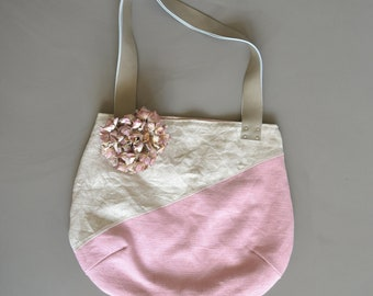 SALE tote - sand and blush pink bag with taupe grey leather straps - geometrical lines bag - pink linen and silk tote - pink shoulder bag