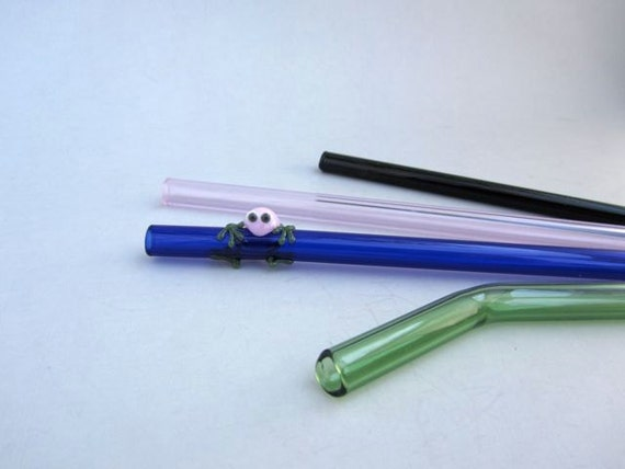 Pink Frog Mix- Set of Four Glass Straws