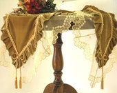 Table Runner bronze gold Silk Velvet with French lace wonderful tabletopper Opulent table decoration