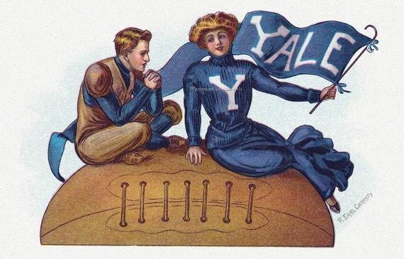 Yale Football Card - Cheerleader and Player Greeting Card