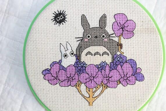 PATTERN: Totoro on Hydrangea Cross Stitch