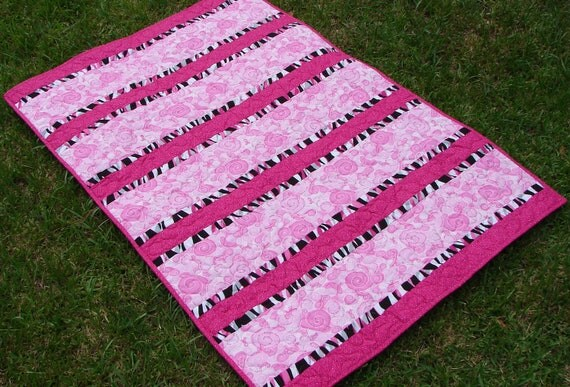 Breast Cancer Pink Ribbon Lap Quilt Blanket With Pink Binding
