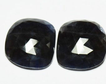 Pair 19mm SAPPHIRE faceted cabochon