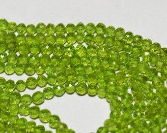 """14"""" line 4mm AAA PERIDOT round faceted beads per002"""