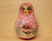 Reserved for Tori Russian Babushka Pink  Chime Doll Rolly Polly Doll Baby Shower Gift