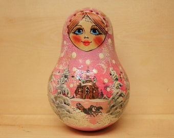 Russian Babushka Pink  Chime Doll Rolly Polly Doll Baby Shower Gift