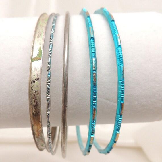 Vintage Set of Blue and Silver Bangle Bracelets