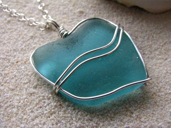 Sea Glass Jewelry Teal Sea Glass Necklace Sterlin Silver Aqua Beach Glass Mermaid's Heart Necklace