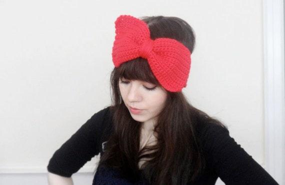 Big Bow Crochet Ear Warmer